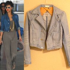"""Helmut Lang Cropped Distressed Denim Jacket As seen on Rihanna! Authentic Helmut Lang denim jacket in a light wash with distressed details and cropped style. Silver buttons feature brand logo. Collared with button front closure, slight asymmetric design. 2 exterior slash pockets, 1 interior hidden patch pocket (never used, still sewn shut). A truly classic piece that will never go out of style. Excellent condition, freshly dry cleaned. Size P (XS), approx 18"""" long, 15"""" across back shoulder…"""