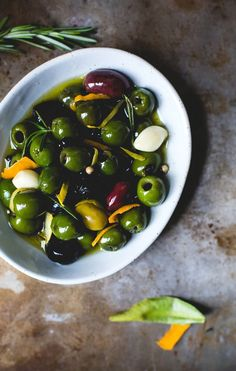 Warm Olives with Citrus, Rosemary, and Splash of Gin {gluten-free + vegan}