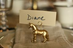 Dare to DIY Entertain: DIY Gold Horse Place Card Holders on a Christmas Tablescape - Primitive and Proper