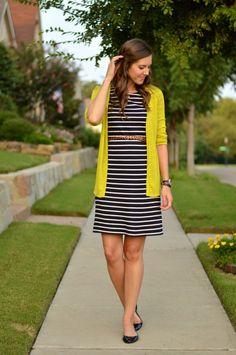 striped dress + leopard belt + chartreuse cardigan #gtrsummerremix