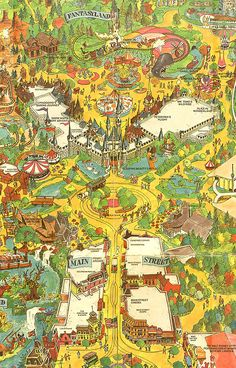 Vintage Disneyland Map Main Street USA by tylersmithh Disney Map, Disneyland Map, Vintage Disneyland, Arte Disney, Disney Theme, Disney Facts, Punk Disney, Disney Dream, Disney Love
