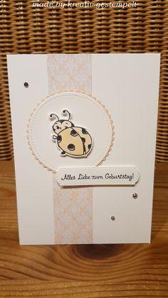 """Geburtstagskarten braucht man ja des öfteren mal, oder? Das Designerpapier stammt aus ,,Frühling in Paris"""", der Kreis aus den wunderbaren ,,Stickrahmen"""" und der Wellenkreis ist in ,,lagenweise Kreise"""" zu finden! Koloriert habe ich den süßen Käfer mit den Blends in blütenrosa. Ein bisschen Glitzi drauf und fertig ist eine süße Karte! Office Supplies, Notebook, Paper, Circles, Smoking Pipes, Stamping, Birthday, Cards, Creative"""