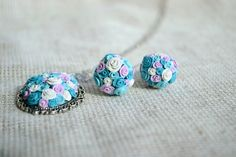 Blue roses set  flower earrings and pendant  by twocatsboutique, $40.00