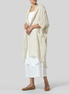 Linen Kimono Cardigan -  Long and fluid; this kimono cardigan is a luxe layer designed for effortless movement.