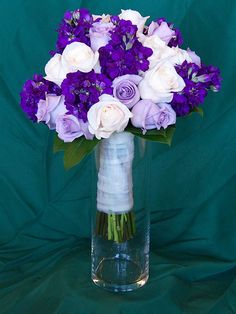 This Wedding Bouquet Features Purple Stock, Vendela Roses, and Bluebird Roses