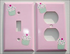Hand Painted Single Switchplate and Matching Outlet Plate Set Pink Frosting and Cupcakes Cupcake Bedroom, Kid Cupcakes, Pink Frosting, Switch Plates, Plate Sets, Kids Room, Hand Painted, Unique Jewelry, Handmade Gifts