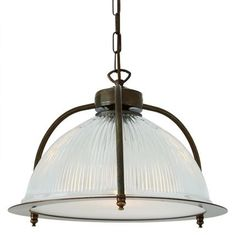 Add a traditional touch to your home with this Bousta Holophane Pendant Light from Mullan. Its charming, rustic design sees antique finished brass form a cage for the stunning, prismatic detailed g. Large Pendant Lighting, Industrial Pendant Lights, Contemporary Pendant Lights, Glass Pendant Light, Glass Pendants, Pendant Lamp, Task Lighting, Glass Ceiling Lights, Traditional Lighting