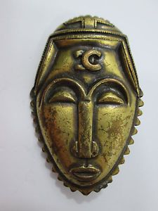 Vintage Brass Tribal Mask Pin Brooch CC Marked
