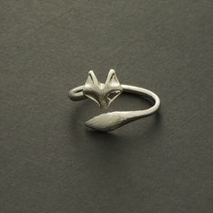 Fox Ring / Silver Gold / Adjustable Ring / R039 by silverholic