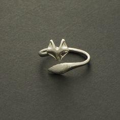 Fox Ring / Silver Gold / adjustable ring animal by silverholic