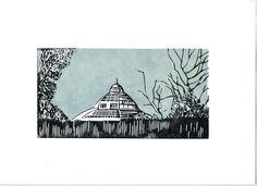 The Palm house Sefton Park Liverpool lino print