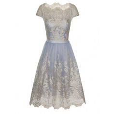 Chi Chi London Metallic lace tea dress (6.495 RUB) ❤ liked on Polyvore featuring dresses, short dresses, blue, women, white mini dress, white cocktail dresses, lace overlay dress, blue cocktail dress and vintage tea party dress