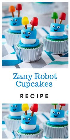 Prepare cake mix according to package directions, using water, oil and egg whites, to make 12 cupcakes. Bake in foil baking cups. Happy Birthday Celebration, 5th Birthday Party Ideas, Third Birthday, Birthday Parties, Robot Cake, Recipe Cup, Robot Theme, Panda Party, Cakes For Boys