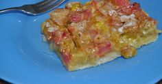 "Sweet, tart and custardy. RHUBARB CUSTARD KUCHEN This kuchen is from a ""FAMILY FAVORITES FROM COUNTRY KITCHENS by the Farm Journal 1973. ..."