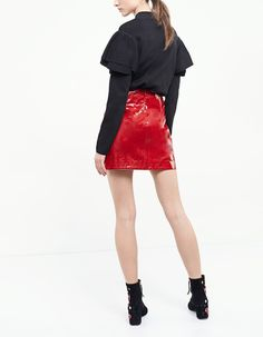 Patent sarong skirt - Skirts | Stradivarius Finland