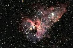 The central portion of the Eta Carinae Nebula, NGC 3372, also known as the Keyhole Nebula, in the constellation of Carina.