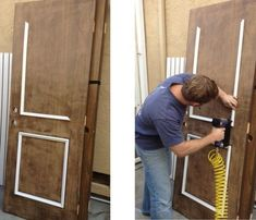 Add molding to old slab doors making them new and saving tons of money. Add molding to old slab door Door Frame Molding, Door Frames, Moulding, Moldings And Trim, Home Upgrades, Old Doors, Furniture Restoration, Diy Home Improvement, Home Repair