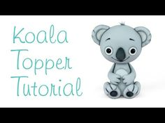 Crumb Avenue Tutorials - Koala (Sugar Paste or Polymer Clay) Fondant Figures Tutorial, Cake Topper Tutorial, Fondant Toppers, Cupcake Fondant, Cake Decorating Techniques, Cake Decorating Tutorials, Biscuit, Halloween Cupcake Toppers, Fondant Animals