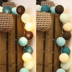 Set: Schoko-Minza Lichterkette mit 20 Baumwollbällen in verschiedenen Türkis und Naturtönen  # Lichterketten # Deko # DIY
