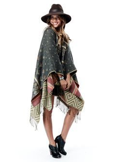 Atlas Poncho #acrylic #blanket-wrap #blue #brown #coffee #fashion #green #olive #one-size #polyester #poncho #style #sweater #womens-clothing