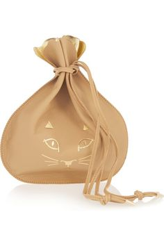 Charlotte Olympia Precious Leather Clutch - Sand and gold leather (Cow), Drawstring top. Made in Italy (=)