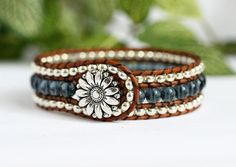 Denim Blue and Silver Beaded Wrap Bracelet, 3 Row Cuff, Country Boho, Leather Jewelry, Beaded Bracelet