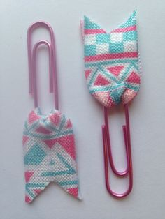 A personal favorite from my Etsy shop https://www.etsy.com/listing/228661991/page-flag-paper-clips-pink-and-blue