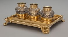 A William Stroud George III Gilt Silver and Cut-Glass Inkwell | Lot #75070 | Heritage Auctions