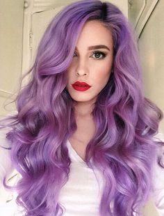 21 Lavender Hair Looks That Will Make You Grab Hair Dye Immediately Surprisingly pretty and versatile, this purple hue shouldn't be ruled out as a viable hair color option – Farbige Haare Love Hair, Gorgeous Hair, Beautiful, Violet Hair Colors, Violet Ombre, Purple Ombre, Hair Colours, Purple Streaks In Hair, Purple Haze