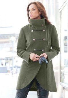b02de4246f1 Jessica London Plus Size Coat In Military Style Ivy Green