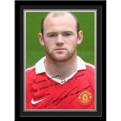 Rooney Signed PhotoPersonalised Wayne Rooney Gift A unique gift displaying Wayne Rooney's photo and a personal message alongside his printed autograph. Presented in a stylish contemporary frame (including mount). Manchester United Gifts, Manchester United Legends, Contemporary Frames, Wayne Rooney, Man United, Gifts For Boys, Unique Gifts, The Unit, Messages