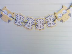 Owl Baby Shower Banner, gender neutral banner, Baby Banner, Baby Shower Decorations, Yellow and Gray banner Grey Chevron, Gray, Baby Shower Chevron, Baby Banners, Baby Owls, Party Packs, Gender Neutral, Baby Shower Decorations, Gift Bags