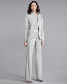 Milano Knit Jacket, Ultra-Fine Rib-Knit Shell & Shelley Pants by St. John Collection at Neiman Marcus.