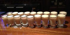 Oatmeal cookie shots are a mix of equal parts Bailey's, butterscotch schnapps and cinnamon liquor, like Hot Damn or Goldschlager. Liquor Drinks, Non Alcoholic Drinks, Beverages, Cocktails, Drinks Alcohol Recipes, Yummy Drinks, Drink Recipes, Yummy Food, Clasico Real Madrid