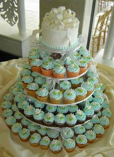 Mint green cupcake tower-perfect, but a bit big, maybe rid of bottom layer and only do vanilla cake?