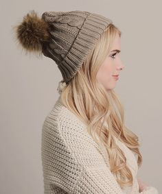 Another great find on #zulily! Mocha Cable-Knit Pom-Pom Beanie by Leto Collection #zulilyfinds