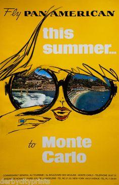 Vintage Pan Am Monte CarloTravel Poster