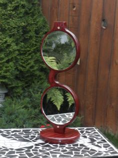 our new cabernet oval table top mirror, this is the back side.