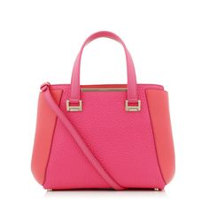 19d49efc77e Geranium Soft Smooth Leather and Pink Grainy Leather Tote Bag   Alfie    Cruise 15