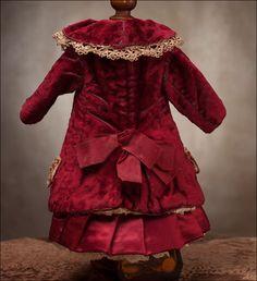 "Antique Original French Maroon Velvet Dress for Jumeau Bru Steiner Eden Bebe doll 17-18"" (43-46 cm). Antique dolls at Respectfulbear.com"