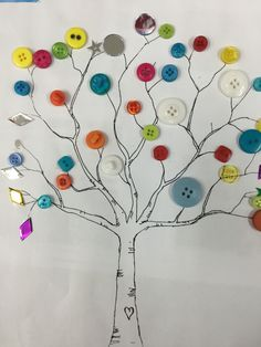 A Bear and Tree by Stephen Michael King. We decorated our trees with buttons, mirror tiles and sparkles.