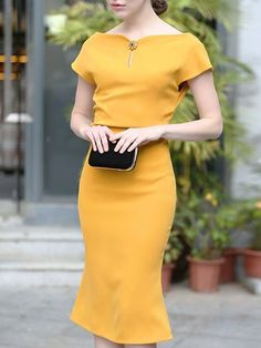 38f1a081c7a9ea Solid Elegant Slash Neck Flounce Party Dress Formele Jurken