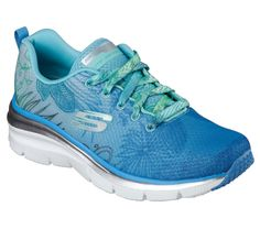 Liven up your style in the SKECHERS Fashion Fit - Garden Parties shoe. Soft floral print mesh fabric upper in a lace up sporty fashion comfort sneaker with stitching accents and Air Cooled Memory Foam insole.