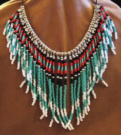 Native American style beaded necklace in turquoise red black