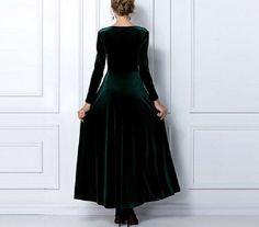 Emerald Green Long Sleeved Formal Velvet Maxi by HappyDressMakers