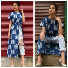 Style kurti with jeans! Evergreen style for women! Indian Designer Outfits, Indian Outfits, Designer Dresses, Indian Clothes, Indian Dresses, Simple Kurta Designs, Kurta Designs Women, Stylish Dresses, Stylish Outfits