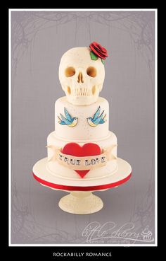Rockabilly Romance Wedding Cake - Tattoo inspired wedding Cake