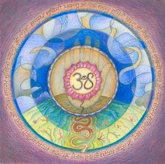 """""""Mandala for Peace and Happiness"""" by Om Shantih, Annandale // Lokah Samastah Sukhino Bhavantu —May all beings in all the worlds be happy.  The central Om is stylized with a cobra wearing the eye of higher consciousness. The hand in the middle, with the Om in the lotus wheel, stands for ahimsa, or non-violence. Snaking  downward, the... // Imagekind.com -- Buy stunning, museum-quality fine art prints, framed prints, and canvas prints directly from independent working artists and…"""