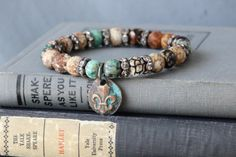 Mixed Gemstone Stretch Bracelet // Fall Colors // by DezineStudio, $35.00