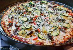 Top to Bottom Vegetable Pizza on Cauliflower-Mozzarella Crust [GF]